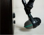 [Placement of Rear Bass Microphone for Leiva Omeya Bass Studio Cajon]